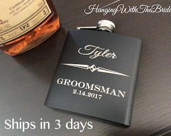 Personalized Flask Groomsmen Gift Box - Groomsmen Flask Set - Gifts for Groomsmen - Monogram Flask - Custom Flask Set for Groomsmen