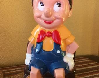 1970's Walt Disney Molded Plastic Pinocchio Bank by Play Pal Plastics, Inc.