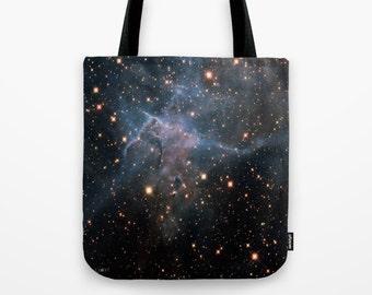 Mystic Mountain Nebula Market Tote Bag, Unique Market Bag,Space,Black, Astronomy,Nebula,Art, Accessory, Bags and Purses, 16 x 16, 18 x 18g