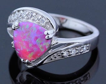Bright Pink Handmade Opal & Topaz Ring // 925 Sterling Silver Ring Size 7 Jewelry - R108
