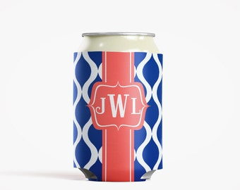 Personalized Can Insulator, DIY Custom Bottle Insulated Beverage Container, Royal Trellis