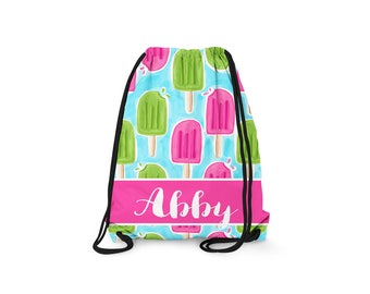 Personalized Drawstring Backpack - Popsicle - Personalized Kids Drawstring Bag