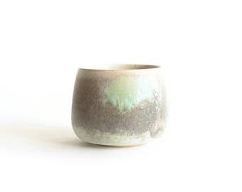 Grey and Green Tea cup, Handmade ceramics