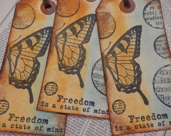 "LARGE TAGS 3 - ""FREEDOM is a State of Mind"" - Handstamped Butterflies Mustard Yellow Aqua Blue Black"