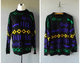 Mardi Gras 80s Sweater Vintage Geometric Womens Pullover Jumper Medium Large Knit Blouse Baggy Oversized Hipster Top 1980s Retro Hippie Boho