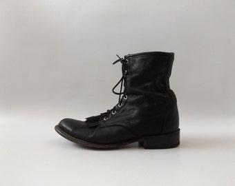 Black Fringe Roper Boots Vintage Laredo Western Packer Granny Boot Men Size 10 Lace Up Womens Grunge Hipster Justin Shoes 1990s Southwest