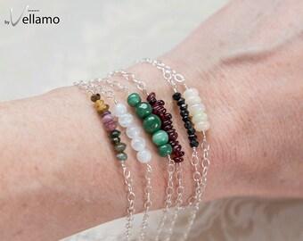 Gemstone bar silver, rose gold bracelet, genuine opal, moonstone, spinel, emerald sterling bracelet dainty simple stacking bead bar bracelet
