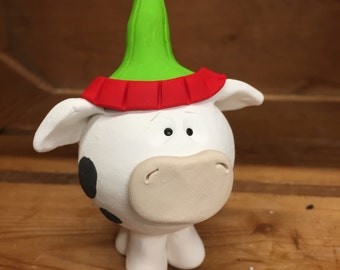 Handmade Cow Christmas Ornament, Polymer Clay Decoration, Holiday Farm Animal Cow in Santa Hat