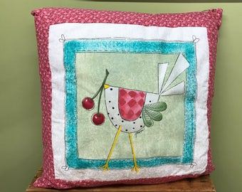 Bird Pillow, Throw Pillow, Bird Throw Pillow, Hand Painted Pillow, Bird and Cherry