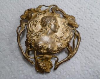 Ancien Français Art Nouveau ceinture boucle fermoir Cap (v522)