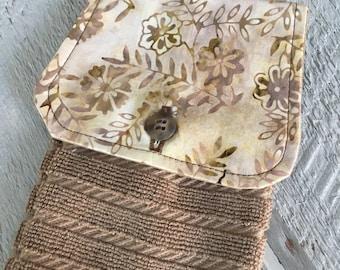 Hanging Kitchen Towel  - Modern Batik Flowers Gold  Beige  Terry Cloth Towel Button Closure