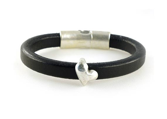 Silver Heart Black Licorice Leather Bracelet Magnetic Clasp