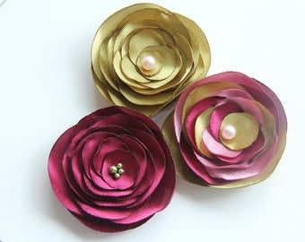 BUY 3 PAY FOR 2! Green, Pink and Red Flowers Brooches, Green and Red  Wedding Accessories