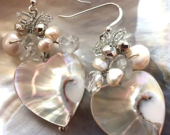 Nautilus Core & Pearl Wire-Wrapped Earrings