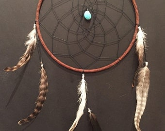 Large Brown and Black Dreamcatcher with turquoise and feathers, 9 inch dream catcher, simple brown and black dreamcatcher, great gift!