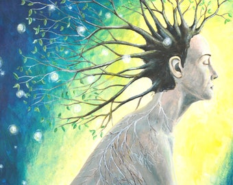 8x8 Art Print-Tree Woman-Woman With Branches, Veins, and Fireflies-Yellow and Blue Art