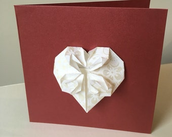 Wedding/Engagement Card with Origami Heart