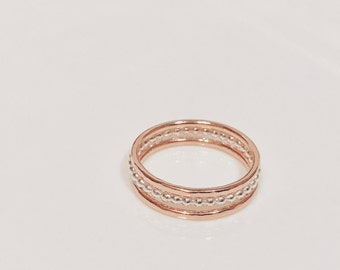 Pink Bubbles 3 - Sterling Silver and 9 carat Solid Rose Gold Stacking Set