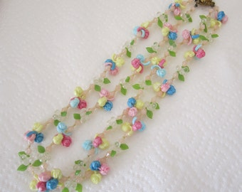 Vintage West Germany pastel flower garland necklace double strand. flower necklace. floral necklace