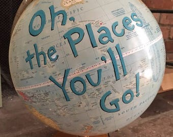 "CUSTOM PAINTED 12"" Vintage Hand Painted Dr Seuss ""Oh the Places You'll Go"" Globe"