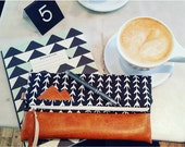 Folding Clutch-Black & White Print with Mountain patch/Vegan leather