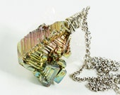 Rainbow Bismuth necklace, Sterling Silver fine necklace with rainbow metal crystal, original silver wire wrap crystal necklace, gift,2706