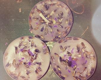 Set of 3 Lavender Tealight Candles