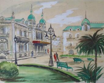 vintage downtown Paris  watercolor Monte  Carlo hotel signed