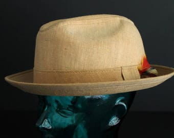 Vintage Mens Bermuda Style Hat Tan Cotton Canvas With Feather Embelishment Fedora Like Mans Hat     Size 7 5/8 XL