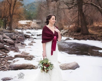 Warming Bridesmaid Shawl Wrap, Winter Wedding Shawls and Wraps, Burgundy Capelet, Crochet Wrap Shawl, Burgundy Dress Cover Up, Bridal Shrug