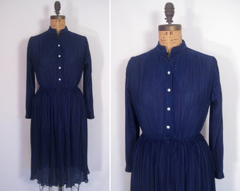 1970s navy disco dress • 70s ink blue pleated party dress • vintage in the still of the night dress