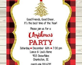 Christmas Party Invitation- digital- printable-trees- glitter- sparkle-plaid- gold