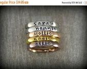 25% OFF - Personalized Stackable Name Ring - Stacking Rings - Matte, Shiny, Rose Gold, Gold and Coffee Colors - 3mm Width