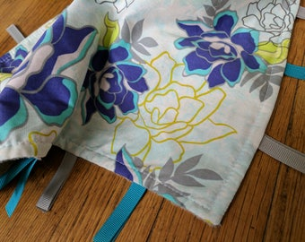 Baby Tag Blanket - Flower - Teal White Purple Grey - Baby Girl - Ready to Ship