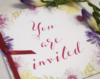 Bloom Floral Wedding Invitation, folded wedding invitation