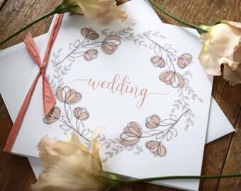 Blossom Floral Wedding Invitation, folded wedding invitation