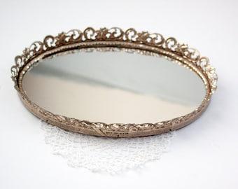 Vintage Ornate Vanity Mirror Tray