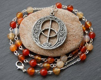 Chalice Well, Glastonbury, Inspired Avalon Witches'/Witch's Ladder/Prayer Beads/Necklace with Vesica Piscis Pendant/Charm. Pagan Druid Wicca
