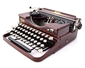 """Royal Model P """"Faux Bois"""" Typewriter Professionally Refurbished Portable w/Two New Ribbons & New Platen"""