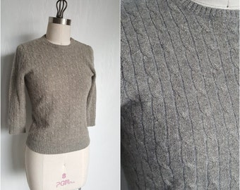 Metallic CASHMERE Sweater • Vintage 90s does 50s Gray and Gold Lurex Pin up Sweater • Size S