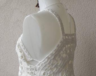 white crochet top festival top circle top Crochet top, teal blouse, lace stitch, boho wear, halter neck, open back top, summer top,