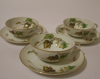"""Wentworth China """"Eterna Shape Autumn"""" # 7516 Cup & Saucer Set of 3"""