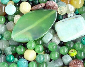 Green Gemstone Bead Lot, Mixed Lot, Various Sized, Mixed Shapes 6 oz
