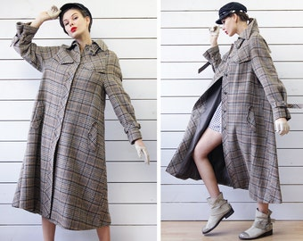 70s Vintage beige grey plaid wool single breasted winter women cape style ankle length maxi coat S