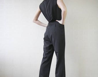 50% OFF SALE Black sleeveless wide leg one piece overall jumpsuit M-L