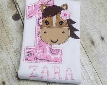 Cute Horse Applique - 1st Birthday - Made to Order - Pink Bandana, Pony, Farm, Cowgirl Appliqué Shirt - Multiple Sizes, Onesie Bodysuit