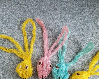 5 Vintage Ribbon and Wire Rabbit Heads Easter Department Store Display Pastels Cute Bendable