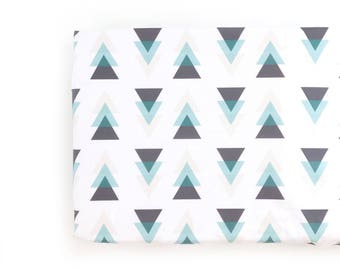 Changing Pad Cover Gray, Teal, Cream Triangles. Change Pad. Changing Pad. Minky Changing Pad Cover. Changing Pad Boy.