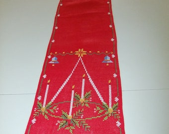 Vintage Swedish hand embroidered Christmas table runner in cross stitch