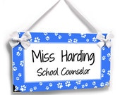 personalized school counselor classroom door sign - white and royal blue paws - graduation gift - P2530